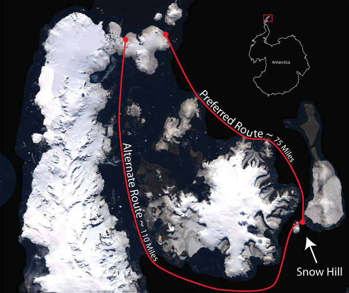 Routes from potential landing sites over the sea ice to Snow Hill Island.  (Photo: NASA)